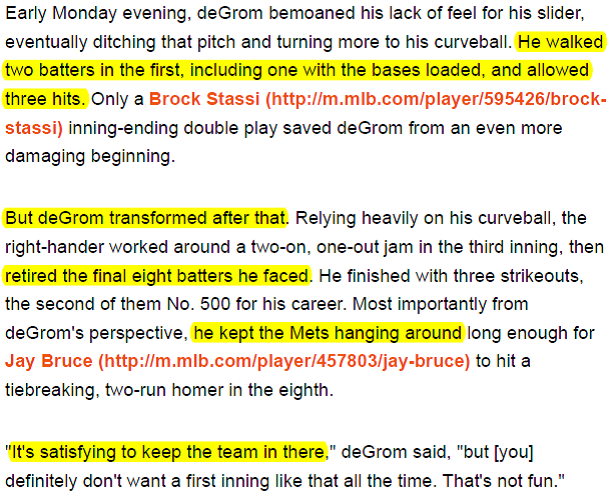 DeGrom Perseverance paragraph