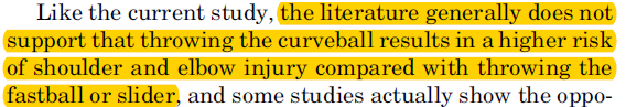 literature shows no increased injury risk with curveball